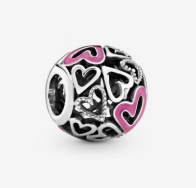 AU20.50 • Buy Authentic Pandora Silver 925 ALE Pink Openwork Freehand Heart Charm 798677C01