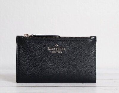 $ CDN50.49 • Buy KATE SPADE Jackson STREET MIKEY Small Slim Bifold Black Leather WALLET New