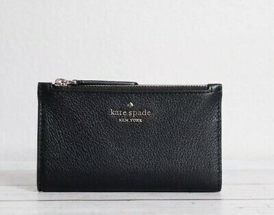 $ CDN50.42 • Buy KATE SPADE Jackson STREET MIKEY Small Slim Bifold Black Leather WALLET New