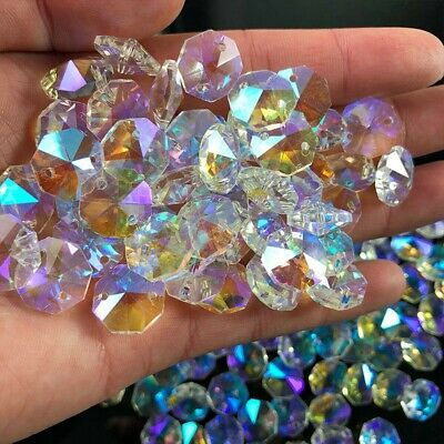 £9.90 • Buy 100*Pc 14MM Clear Crystal Glass Chandelier Part Prisms Octagonal Beads Decor