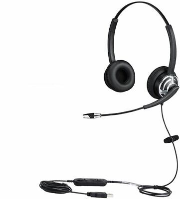 USB Headset With Noise Cancelling Microphone Dual Ear Skype Headset With Speech • 55.99£