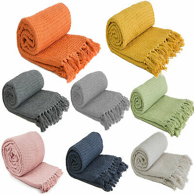 £11.99 • Buy Large XL Plain Cotton Honeycomb Waffle Eco Recycled Blanket Chair Sofa Bed Throw