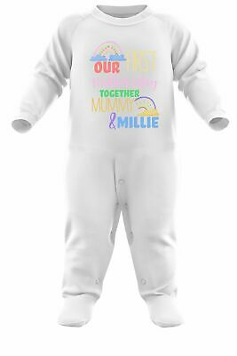 Baby Rainbow First Mother's Day Romper Suit Personalised Mothers Gifts For Mum • 12.95£