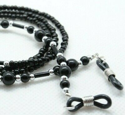 Spectacle/Sun Glasses Chain Black Pearl & Silver Beaded GCB34 • 2.99£