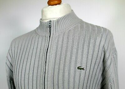 Lacoste Grey Ribbed Knitted Zip Cardigan - XL/XXL - Ska Mod Scooter 80's Casual • 10.50£