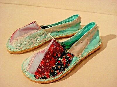 Turquoise Espadrille With Lace & Floral Patches. Brand New. Size UK 5 EU 38. • 2.99£