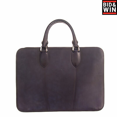 RRP €1750 SANTONI Leather Briefcase Bag Large Laptop Pocket Zipped Made In Italy • 77£