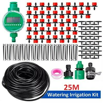 Automatic Drip Irrigation System Plant 25M Self Watering Garden Hose Timer Kit • 13.99£