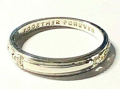 Ladies Silver Finish Stone Set TOGETHER FOREVER Message Ring Size M • 4.99£