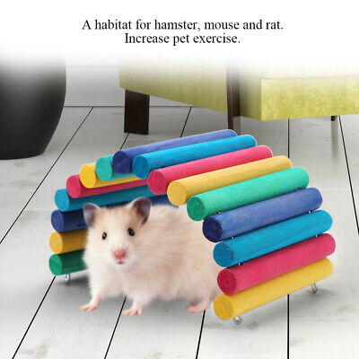 Colorful Hamster Ladder Bridge Stair Gerbil Rodent Rat Wooden Chew Playing Toy • 5.99£
