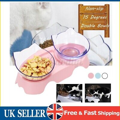 £8.29 • Buy Double Pet Bowls Non Slip Dog Cat Feeding Station Raised Stand Water Food Dish