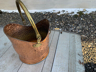 Copper & Brass 2 Handles Coal Scuttle Lot MRE120221H • 30£