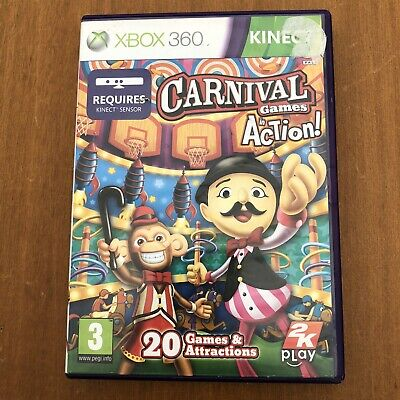 Carnival Games In Action Microsoft Xbox 360 Kinect Video Game Family Fun PAL • 5.99£
