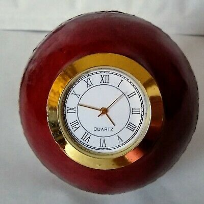 £15.95 • Buy Genuine Red Leather Cricket Ball Quartz Clocks @ Only £15.95p Each !