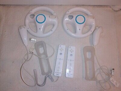 $ CDN73.42 • Buy Lot Of 2 Nintendo Wii Remote White Controllers Official - 2 Nunchuck - 2 Wheels