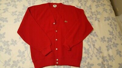 Mens Vintage Izod Lacoste Red Cardigan Sweater Button Front Acrylic Large  • 4.28£