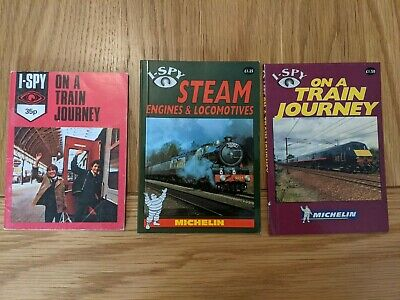 3 I-SPY Books - On A Train Journey (1977 And 1998) And Steam Engines (1998) • 3£