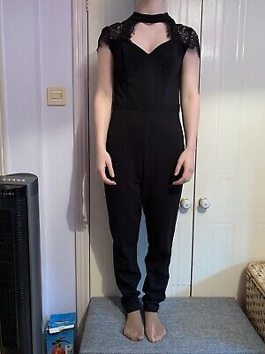 Lipsy Black Jumpsuit With Lace Detail Size 10 • 2.40£