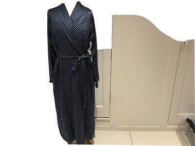 M&s Navy Polka Dot Dressing Gown Size 12-14 • 8£