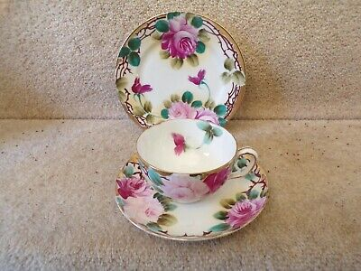 Antique Pink And Gold FLOWERS Bone China Trio TEACUP SAUCER AND SIDE PLATE • 5.50£