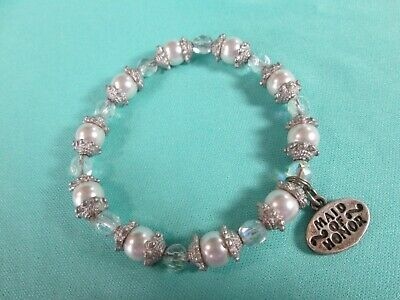 $3.83 • Buy Sterling Silver (925) Charm - Maid Of Honor - Silver Tone Stretch Bracelet