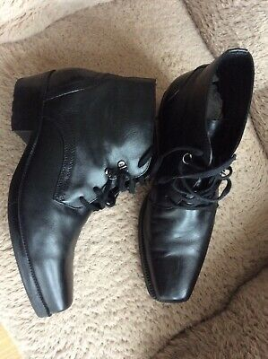 Mens Pavers Black Leather Boots (11) • 7.50£