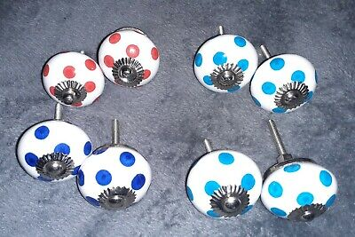 8x White Spotty Ceramic Cupboard Door Knobs Handles - Blues And Red • 7.99£