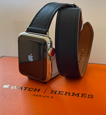 $ CDN1003.02 • Buy Apple Watch Hermes-Series 3 GPS+Cellular 38mm,Double Tour, Indigo Leather EXCLNT