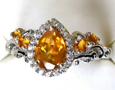 £23.73 • Buy Mexican Fire Opal & White Zircon Ring / Size 7 / 925 Sterling, 0.78ct