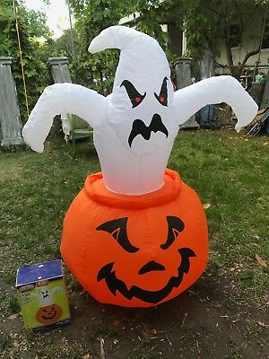 $ CDN53.99 • Buy Halloween Gemmy 4 FT Lighted Ghost In Pumpkin Airblown Inflatable W/Box RETIRED