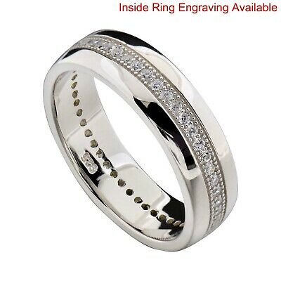 $48.99 • Buy Sterling Silver Cubic Zirconia Eternity Men's Jewelry Engagement Wedding Band