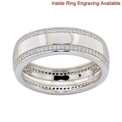 $53.99 • Buy Sterling Silver Cubic Zirconia Eternity Men's Jewelry Engagement Wedding Band