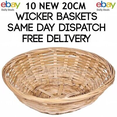 10 X Small Round Wicker Baskets Fruit Snacks Storage Natural Bamboo Gift Hampers • 15.99£
