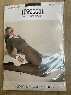 Wolford Individual Velvet De Luxe 50 Tights BRAND NEW SMALL BLACK • 14.95£