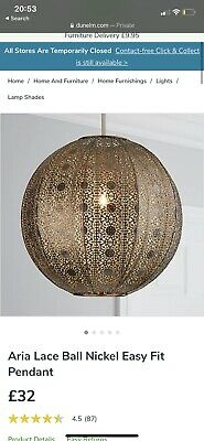 Dunelm Aria Lace Ball Nickel Easy Fit Ceiling Light • 15£