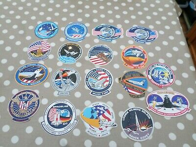 LOT Of 18 Vintage NASA Space Shuttle STS Mission Crew Patch Decal Stickers • 7.99£