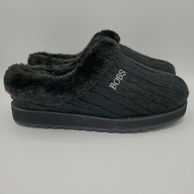 Women's Skechers Sz 6.5 Bobs Keepsakes Black Furry Faux Fur Slippers • 18.02£