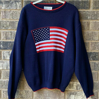 USA American Flag Navy Sweater By Carly Blake Size XL Red White Blue New • 7.23£