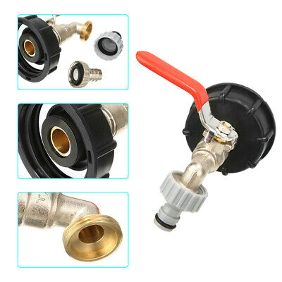 IBC Water Tank Outlet Adapter With Brass Tap + 1/2  Snap On Hose Connector Valve • 9.99£
