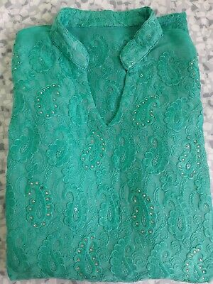 Turquoise Long Sleeve Lace Collared Kaftan/ Suit Dress, Size XS, Midi Length  • 25£
