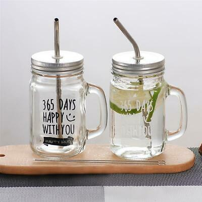 Mason Jar Mugs Classic Insulated Tumbler Water Bottle Metal Lid With Straw • 27.07£