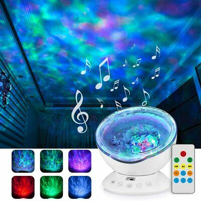 Ocean Projector Lamp Night Light Relaxing Music+Remote Control+ Timer Baby Sleep • 6.99£