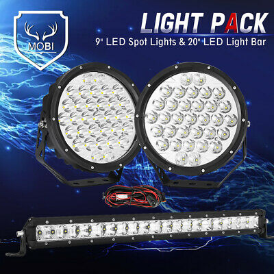 AU119.99 • Buy MOBI 9inch Osram SPOT LED Driving Lights & 20inch Light Bar & Wiring Kit