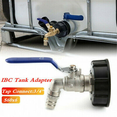 Ibc Tank Adapter S60x6 60mm Coarse Thread + Lever Tap & 3/4  Hose Tail Outlet • 10.99£