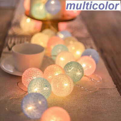 Plug-In Connectable Electric 20 LED Cotton Festoon Ball Fairy String Xmas Lights • 10.19£