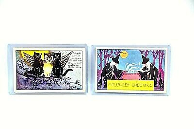 $ CDN44.09 • Buy 2 Vintage WHITNEY MADE Halloween Postcards Black Cats, Witches Worchester Mass