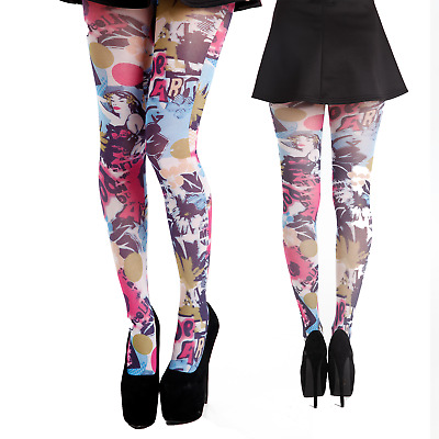 £4.99 • Buy Pop Art Printed Multi Colour Colourful Tights UK Size 8 - 14