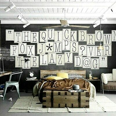 Wall Typography Letters 64 Piece Collage Wallpaper Mural Creative Design Home  • 10.99£