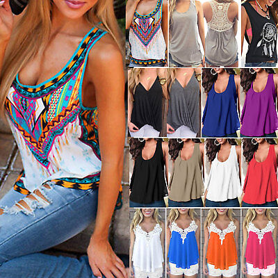 £5.79 • Buy Plus Size Womens Boho Cami Vest Tank Tops Casual Summer Camisole T Shirt Blouses