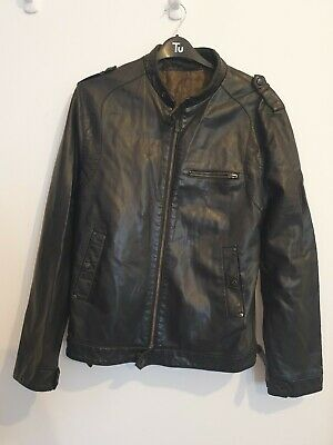 Mens Black Faux Leather Zip Fasten Long Sleeve Jacket From Ringspun Size L • 0.99£
